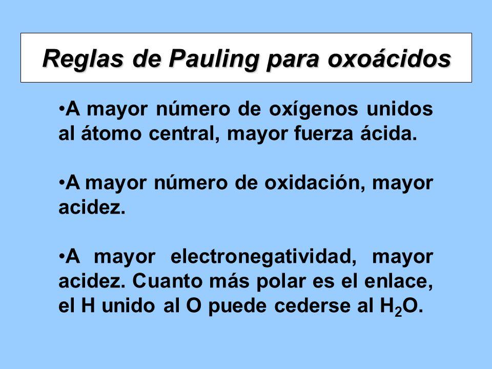 Reglas de Pauling para oxoácidos