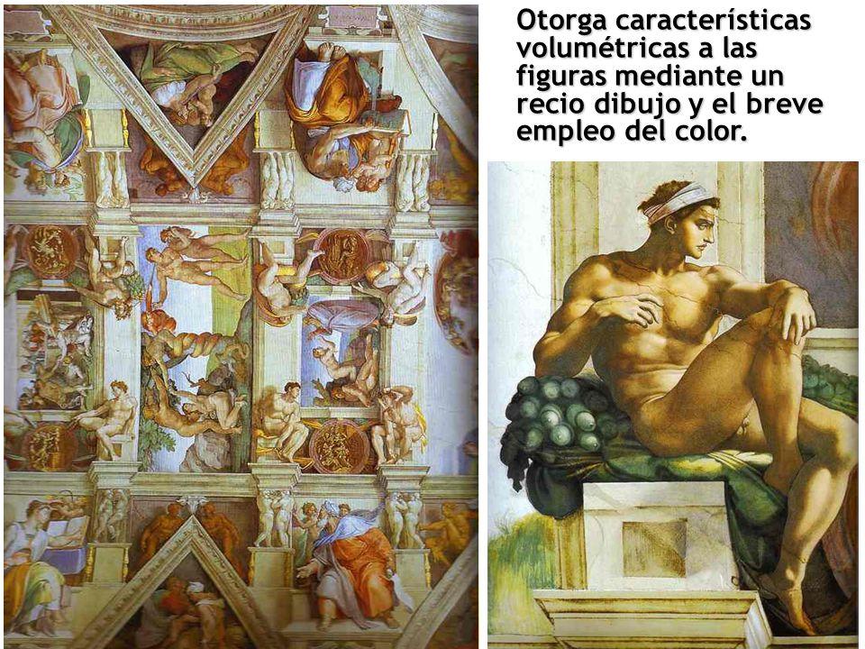 Otorga características volumétricas a las figuras mediante un recio dibujo y el breve empleo del color.