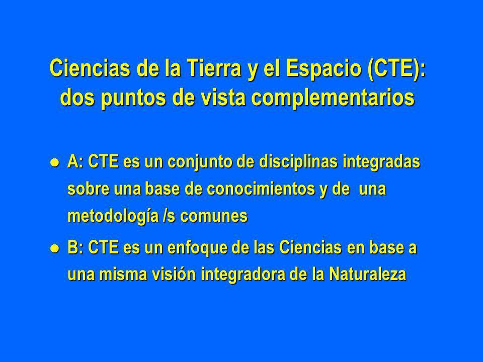 Ciencias de la Tierra y el Espacio (CTE): dos puntos de vista complementarios