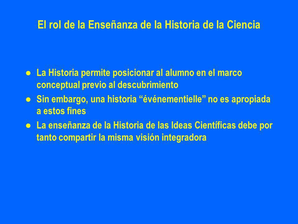 El rol de la Enseñanza de la Historia de la Ciencia