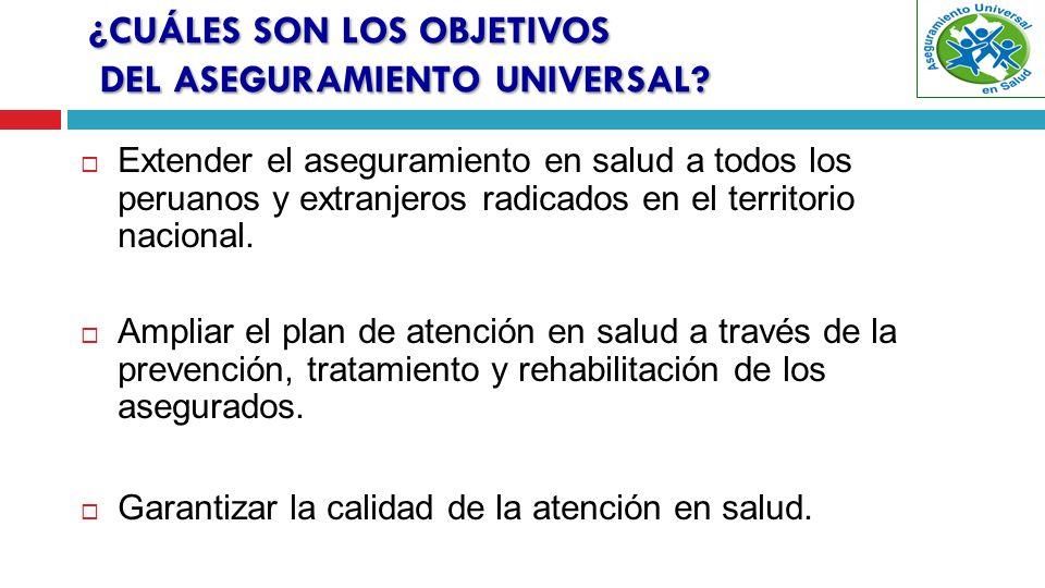 ¿CUÁLES SON LOS OBJETIVOS DEL ASEGURAMIENTO UNIVERSAL