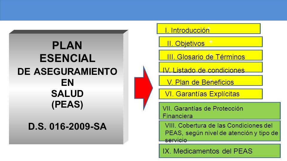 PLAN ESENCIAL DE ASEGURAMIENTO EN SALUD (PEAS) D.S. 016-2009-SA +