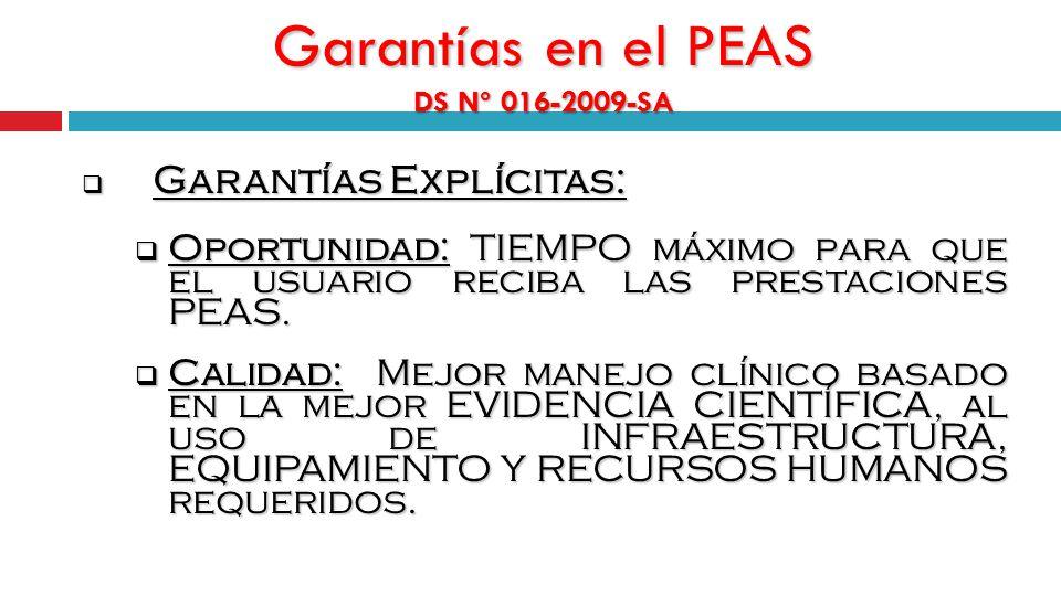 Garantías en el PEAS DS Nº 016-2009-SA