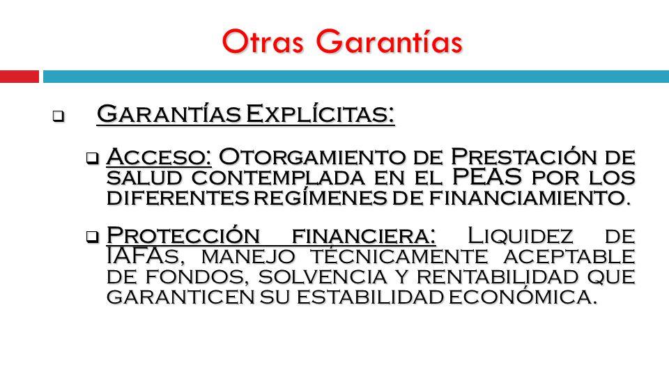 Otras Garantías Garantías Explícitas: