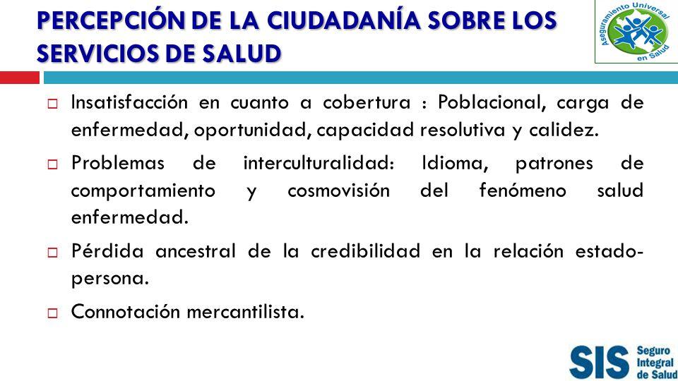 PERCEPCIÓN DE LA CIUDADANÍA SOBRE LOS SERVICIOS DE SALUD