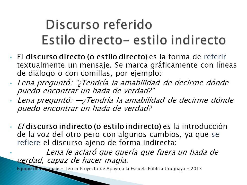 Discurso referido Estilo directo- estilo indirecto