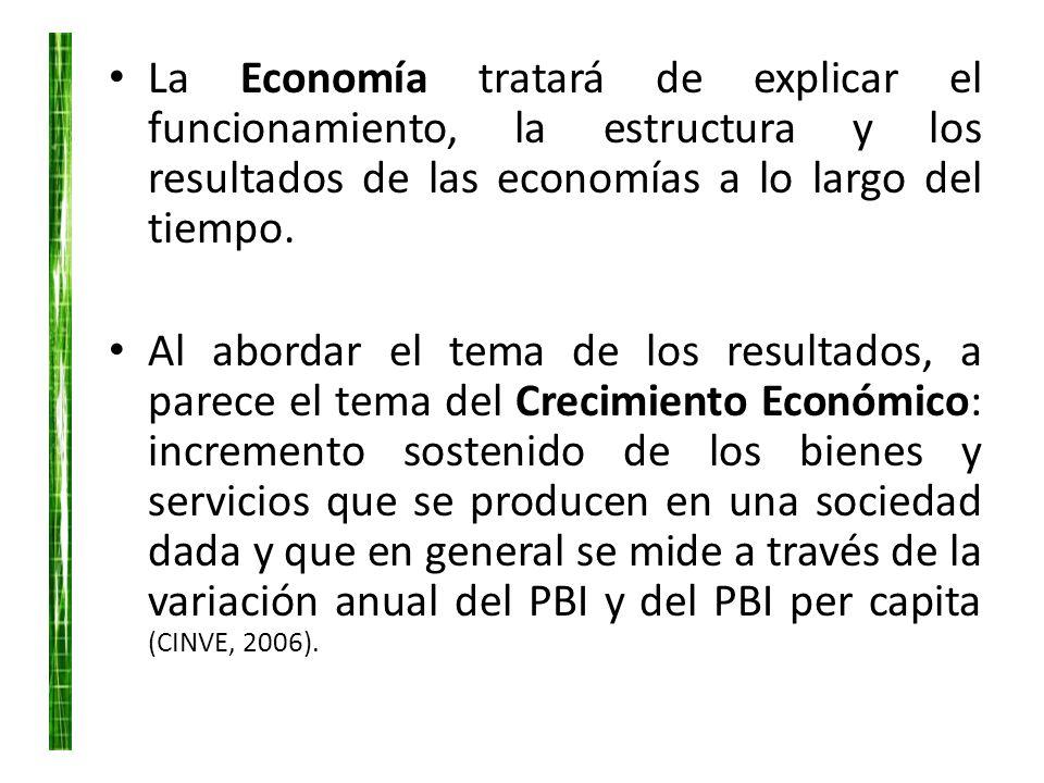 La Economía tratará de explicar el funcionamiento, la estructura y los resultados de las economías a lo largo del tiempo.