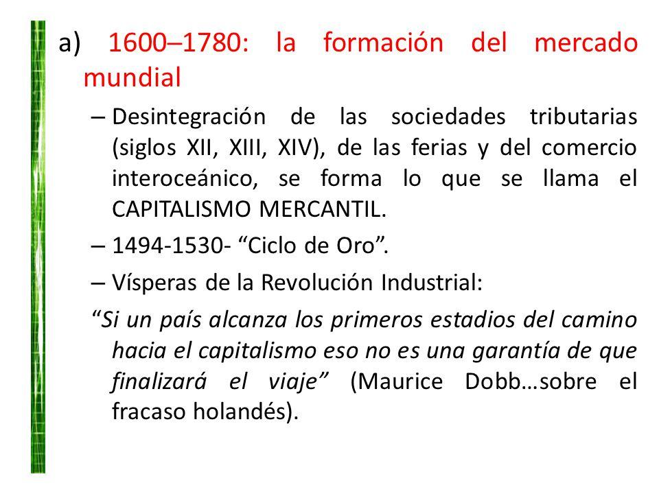 a) 1600─1780: la formación del mercado mundial