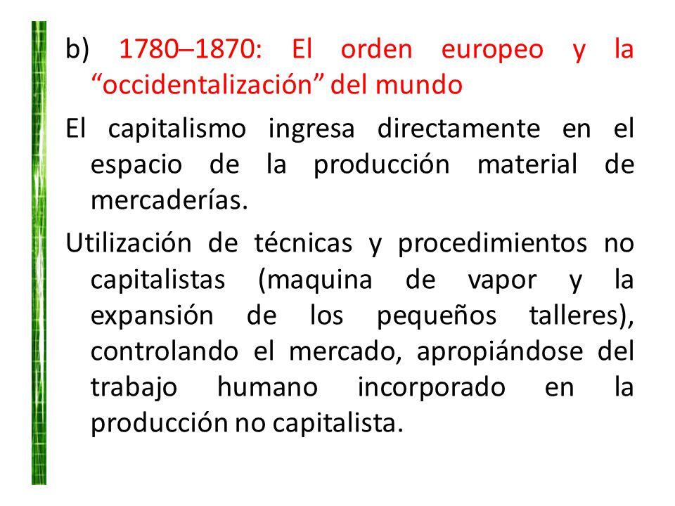 b) 1780─1870: El orden europeo y la occidentalización del mundo