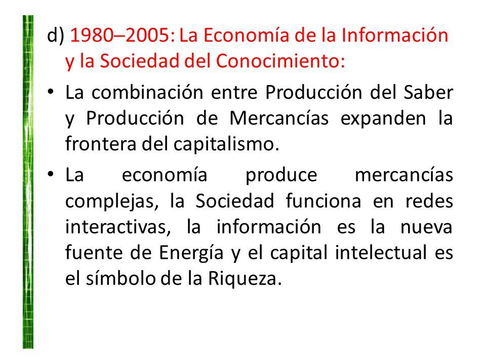 d) 1980─2005: La Economía de la Información y la Sociedad del Conocimiento:
