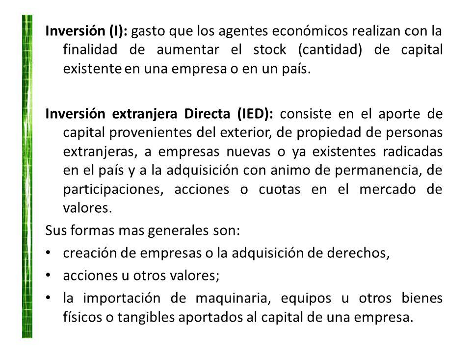 Inversión (I): gasto que los agentes económicos realizan con la finalidad de aumentar el stock (cantidad) de capital existente en una empresa o en un país.