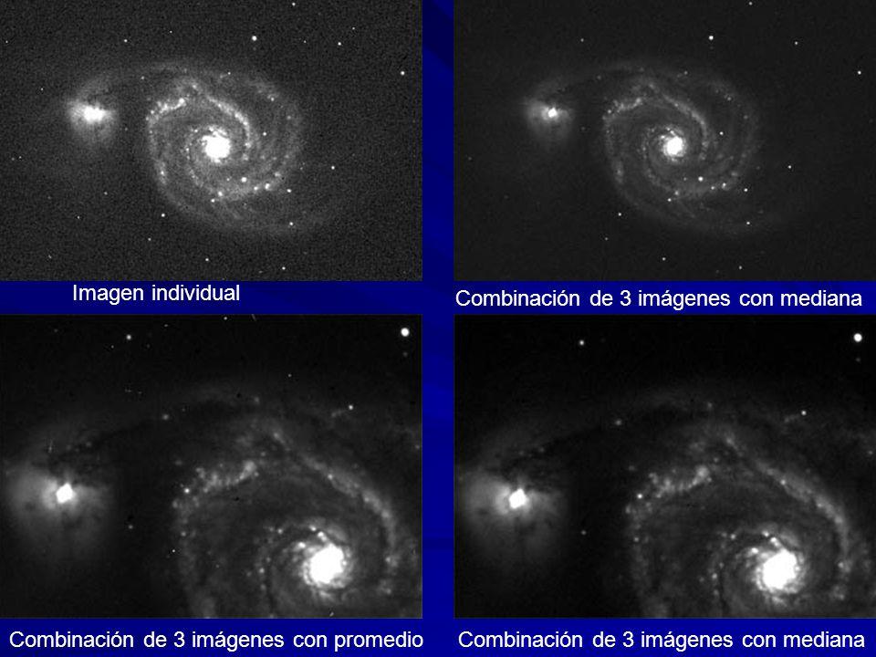 Imagen individual Combinación de 3 imágenes con mediana.
