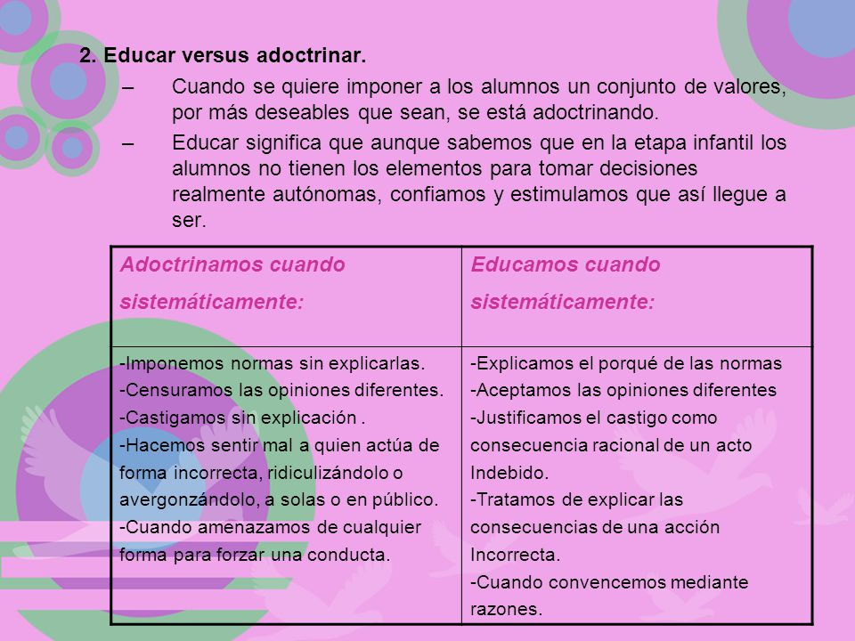 2. Educar versus adoctrinar.
