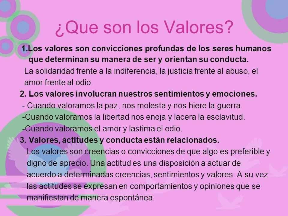 ¿Que son los Valores 1.Los valores son convicciones profundas de los seres humanos que determinan su manera de ser y orientan su conducta.