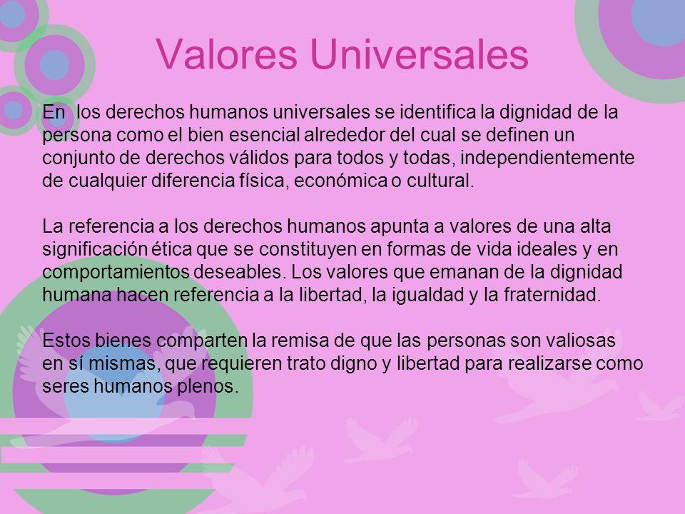 Valores Universales En los derechos humanos universales se identifica la dignidad de la.