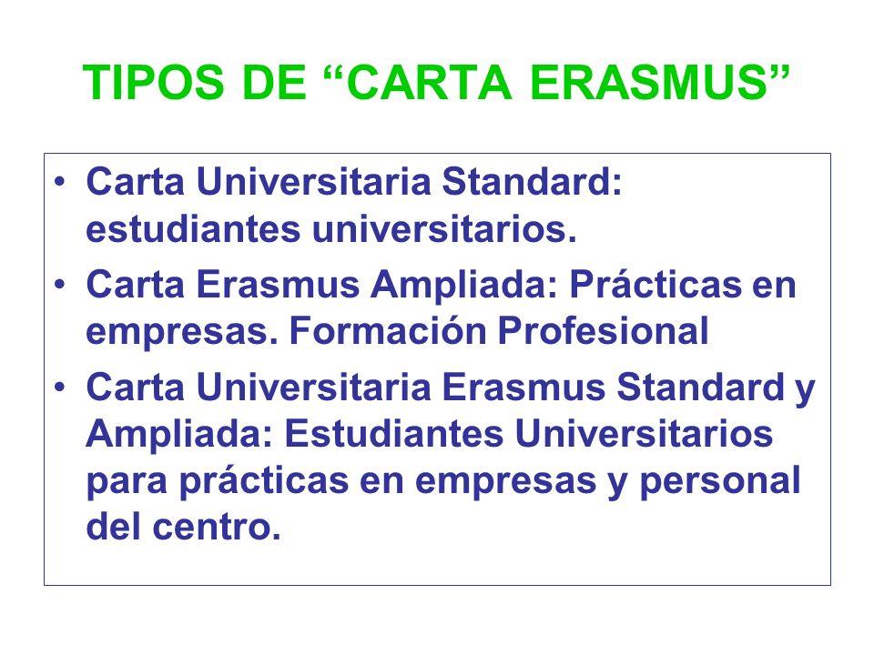 TIPOS DE CARTA ERASMUS