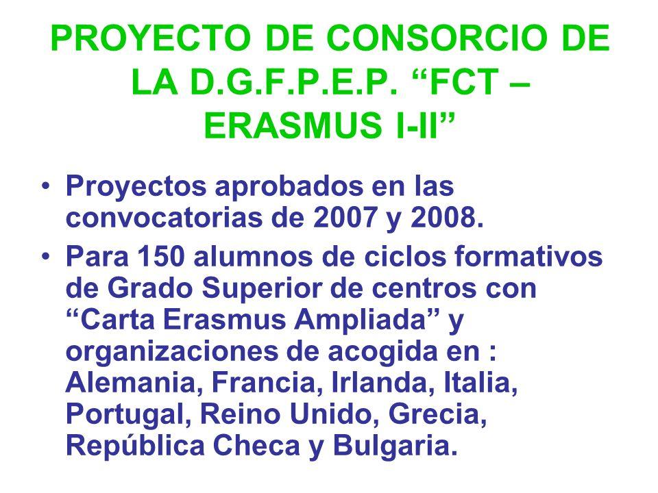 PROYECTO DE CONSORCIO DE LA D.G.F.P.E.P. FCT – ERASMUS I-II