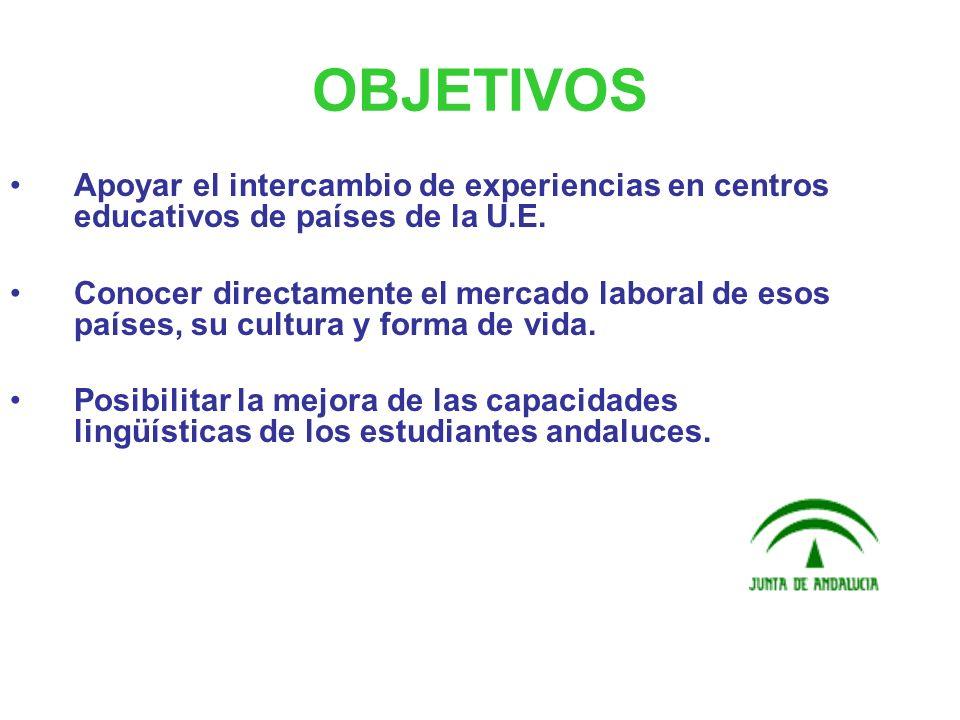 OBJETIVOS Apoyar el intercambio de experiencias en centros educativos de países de la U.E.