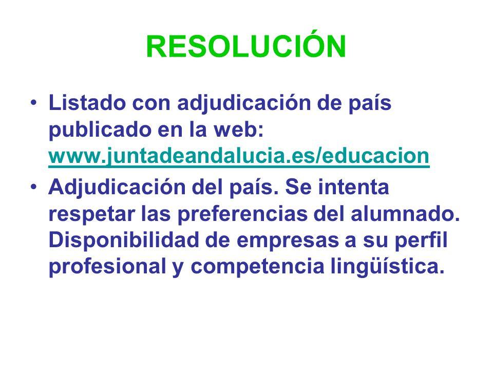 RESOLUCIÓN Listado con adjudicación de país publicado en la web: www.juntadeandalucia.es/educacion.