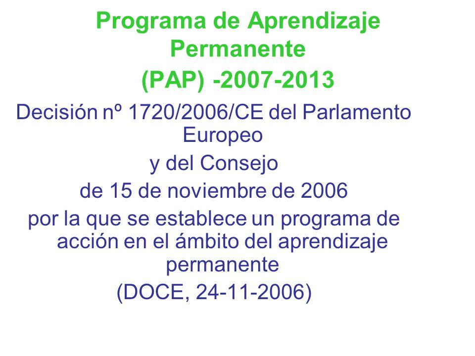 Programa de Aprendizaje Permanente (PAP) -2007-2013