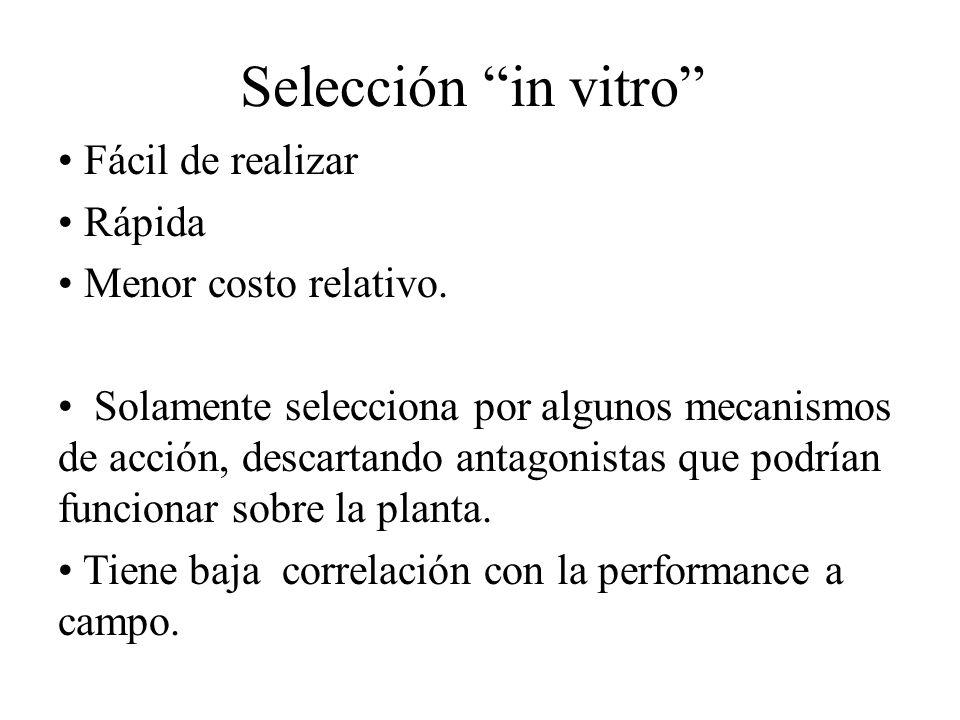 Selección in vitro Fácil de realizar Rápida Menor costo relativo.