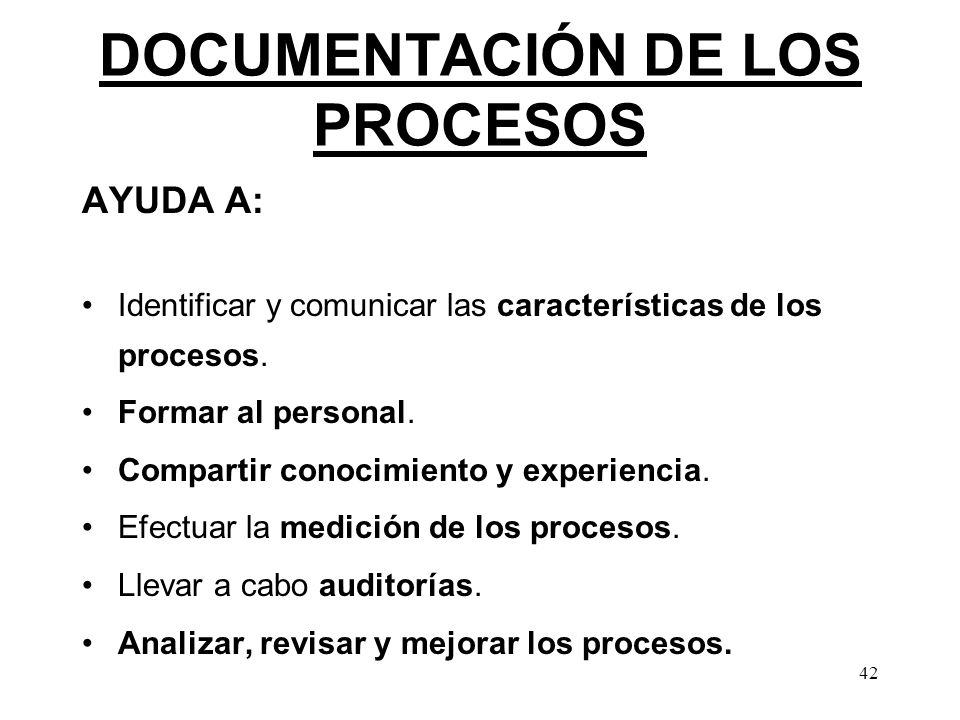 DOCUMENTACIÓN DE LOS PROCESOS