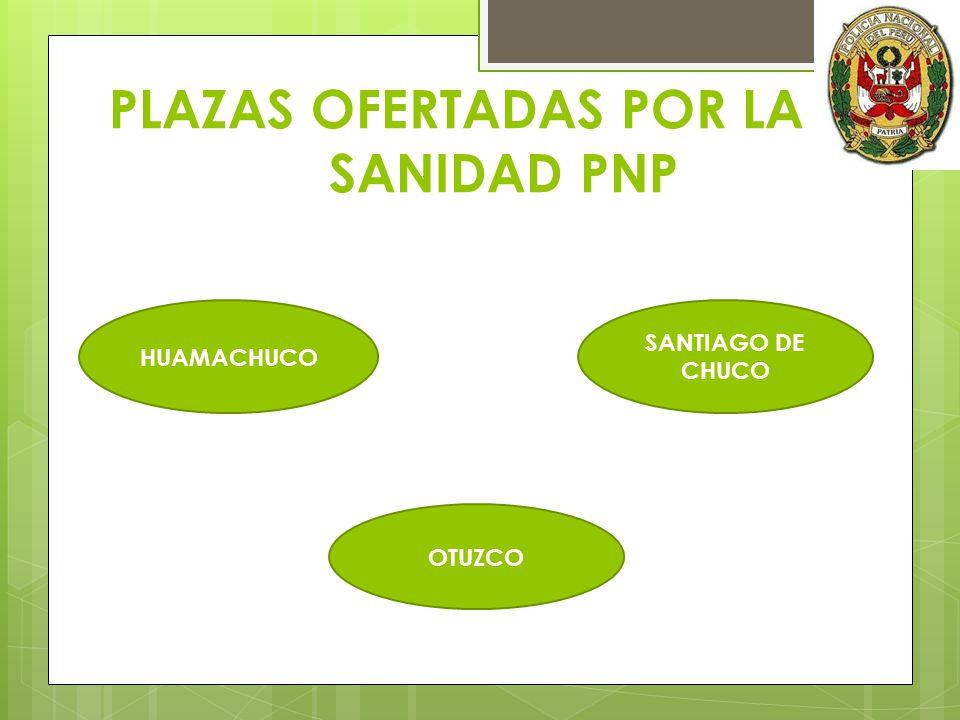 PLAZAS OFERTADAS POR LA SANIDAD PNP