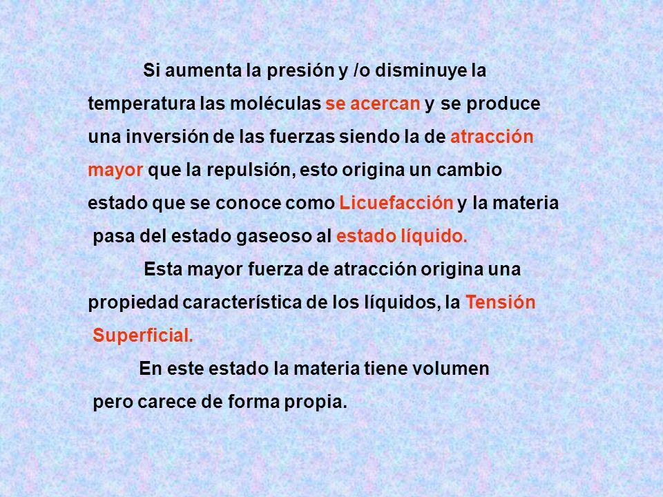 temperatura las moléculas se acercan y se produce