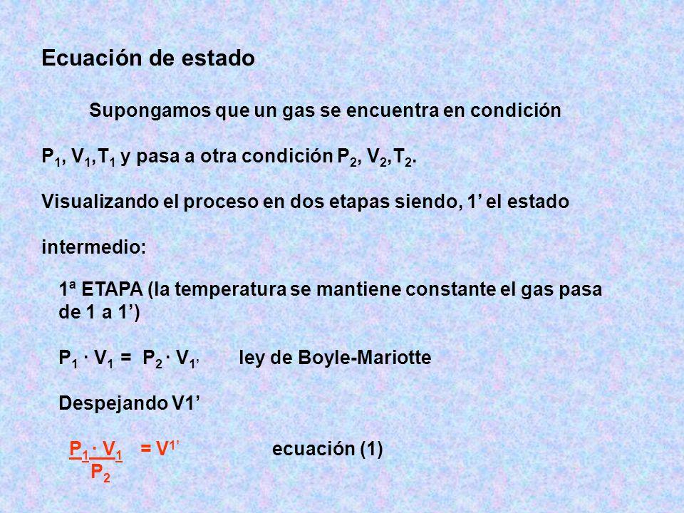 Ecuación de estado P1, V1,T1 y pasa a otra condición P2, V2,T2.