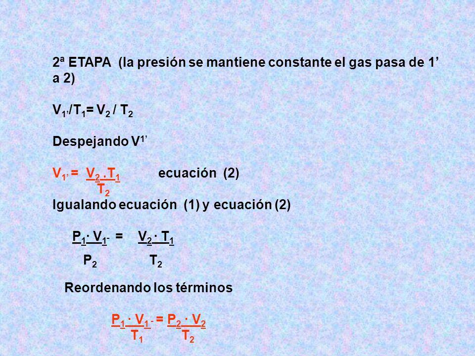 2ª ETAPA (la presión se mantiene constante el gas pasa de 1' a 2)