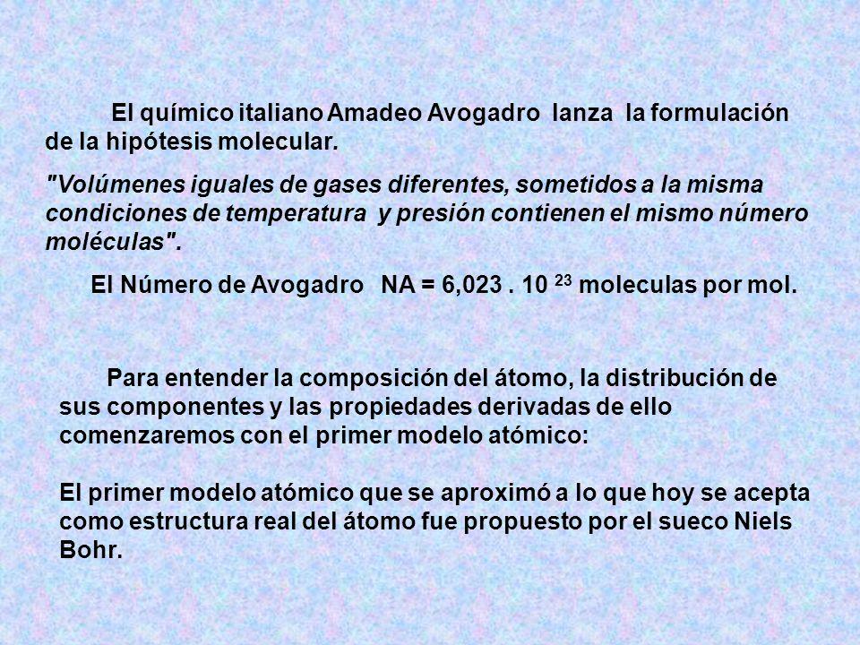 El Número de Avogadro NA = 6,023 . 10 23 moleculas por mol.
