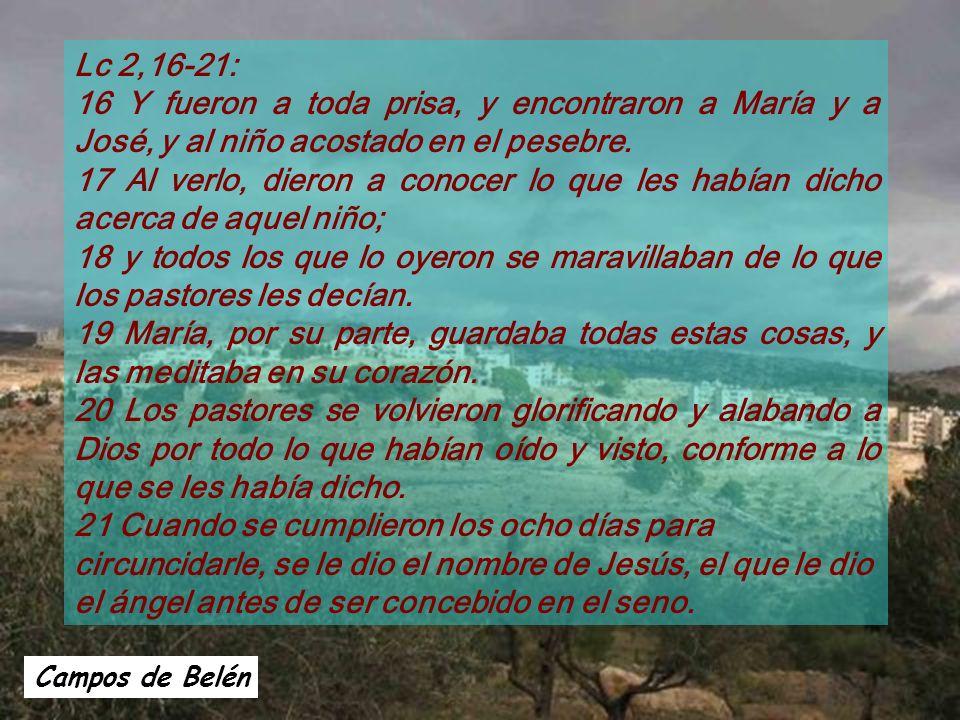 Lc 2,16-21: 16 Y fueron a toda prisa, y encontraron a María y a José, y al niño acostado en el pesebre.