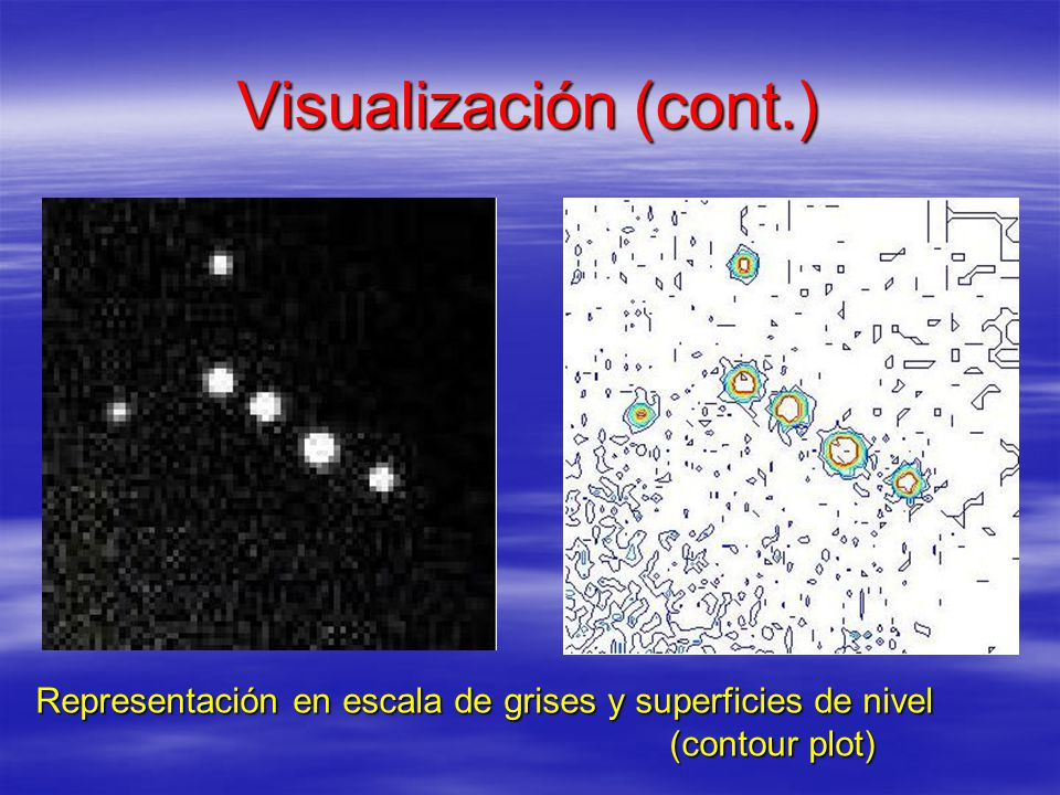 Visualización (cont.) Representación en escala de grises y superficies de nivel (contour plot)