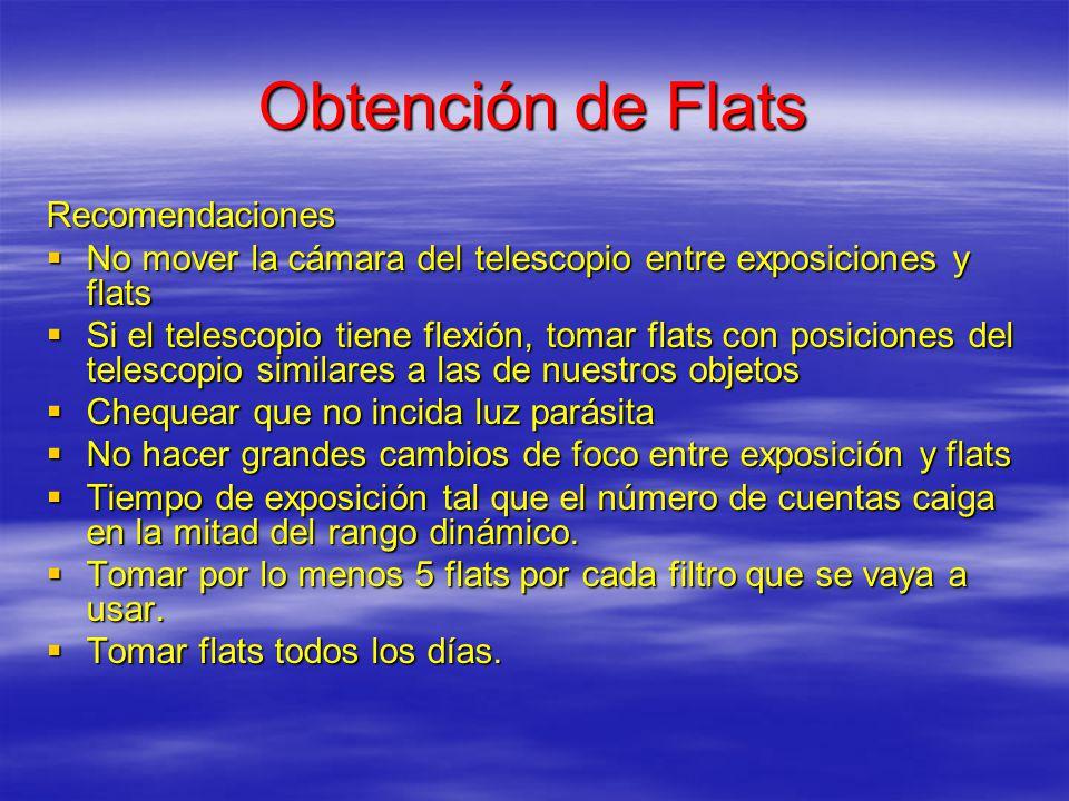Obtención de Flats Recomendaciones