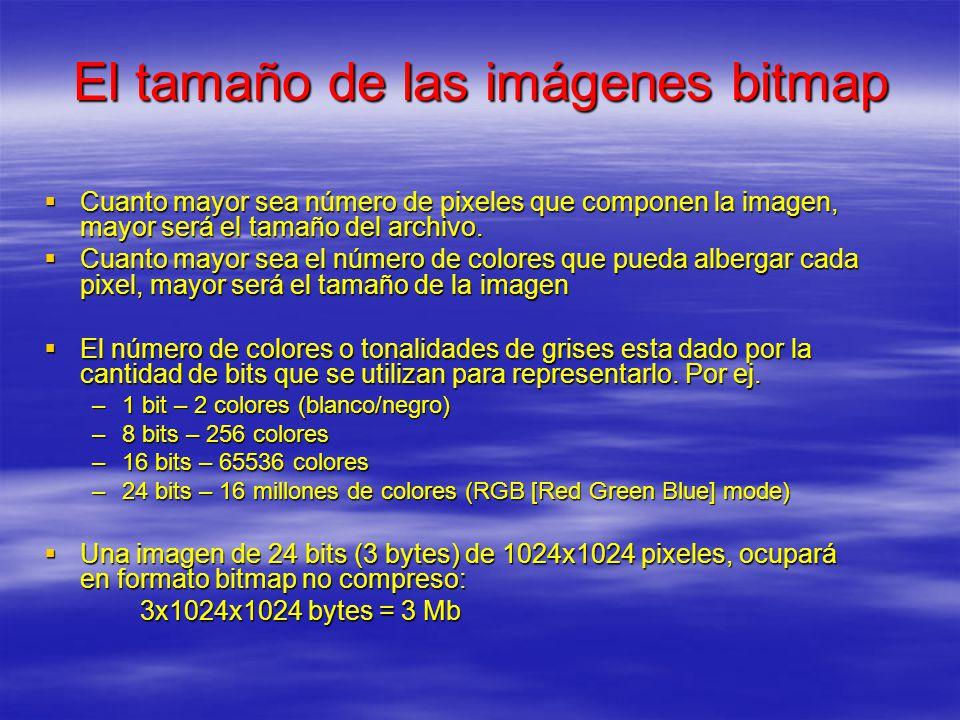 El tamaño de las imágenes bitmap