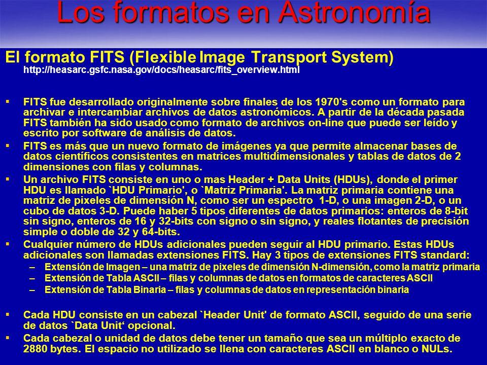 Los formatos en Astronomía
