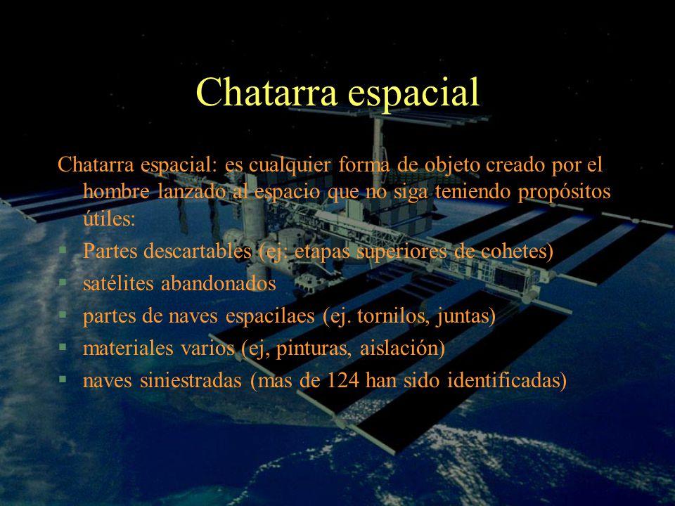 Chatarra espacial Chatarra espacial: es cualquier forma de objeto creado por el hombre lanzado al espacio que no siga teniendo propósitos útiles: