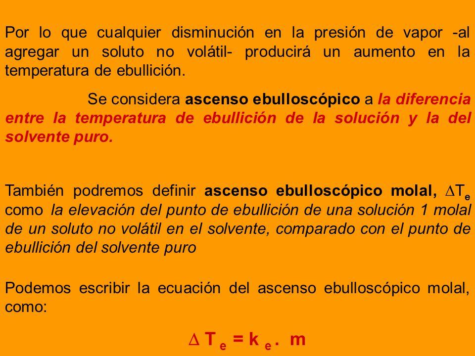 Por lo que cualquier disminución en la presión de vapor -al agregar un soluto no volátil- producirá un aumento en la temperatura de ebullición.