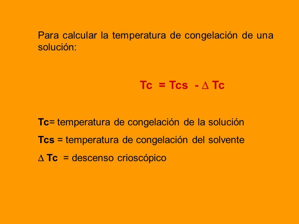 Para calcular la temperatura de congelación de una solución: