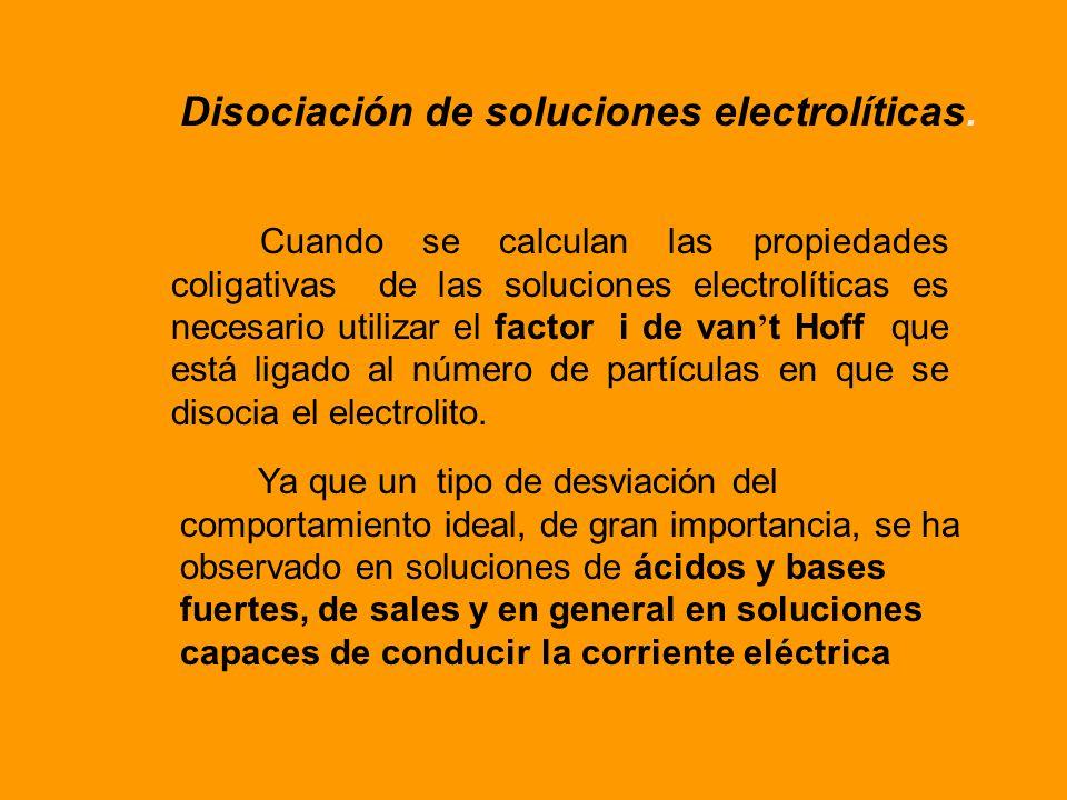 Disociación de soluciones electrolíticas.