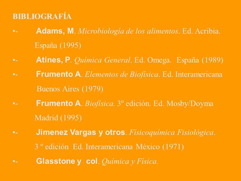 BIBLIOGRAFÍA - Adams, M. Microbiología de los alimentos. Ed. Acribia. España (1995)