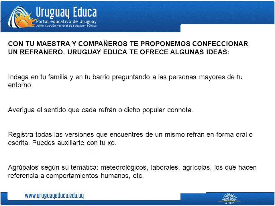 CON TU MAESTRA Y COMPAÑEROS TE PROPONEMOS CONFECCIONAR UN REFRANERO