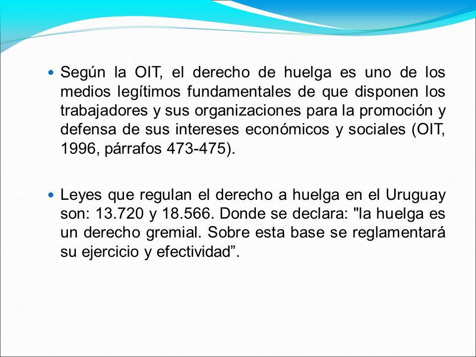 Según la OIT, el derecho de huelga es uno de los medios legítimos fundamentales de que disponen los trabajadores y sus organizaciones para la promoción y defensa de sus intereses económicos y sociales (OIT, 1996, párrafos 473-475).