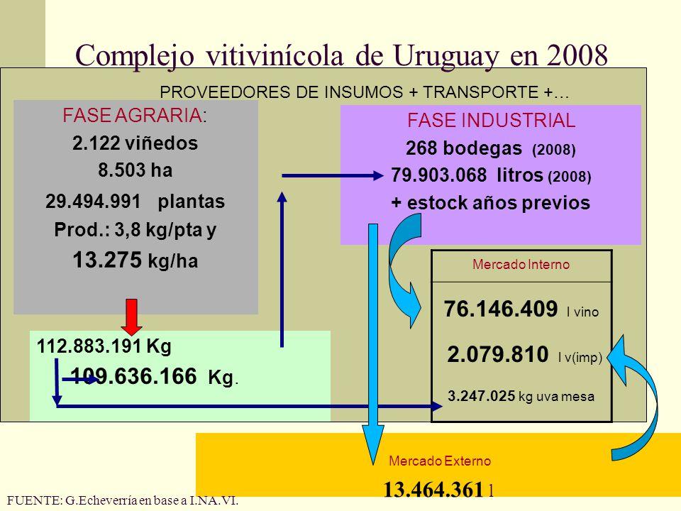 Complejo vitivinícola de Uruguay en 2008