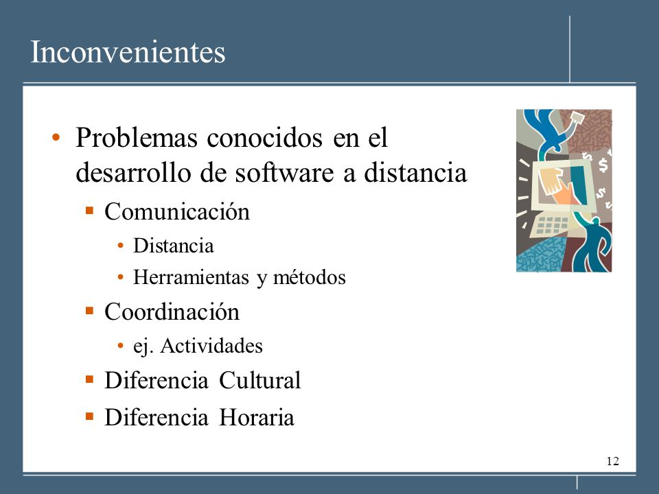 Inconvenientes Problemas conocidos en el desarrollo de software a distancia. Comunicación. Distancia.