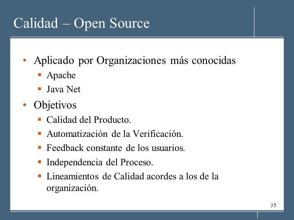 Calidad – Open Source Aplicado por Organizaciones más conocidas