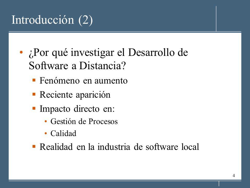 Introducción (2) ¿Por qué investigar el Desarrollo de Software a Distancia Fenómeno en aumento. Reciente aparición.