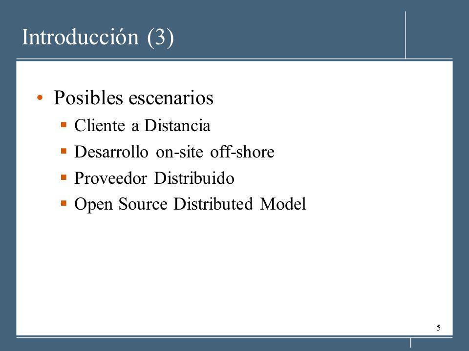 Introducción (3) Posibles escenarios Cliente a Distancia
