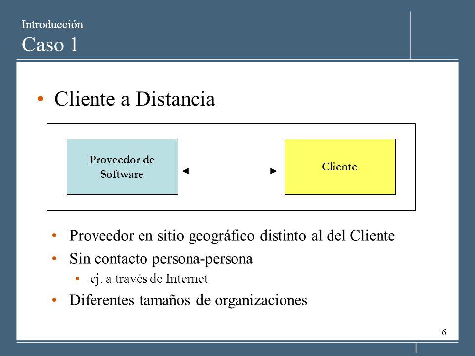 Introducción Caso 1 Cliente a Distancia. Proveedor de. Software. Cliente.