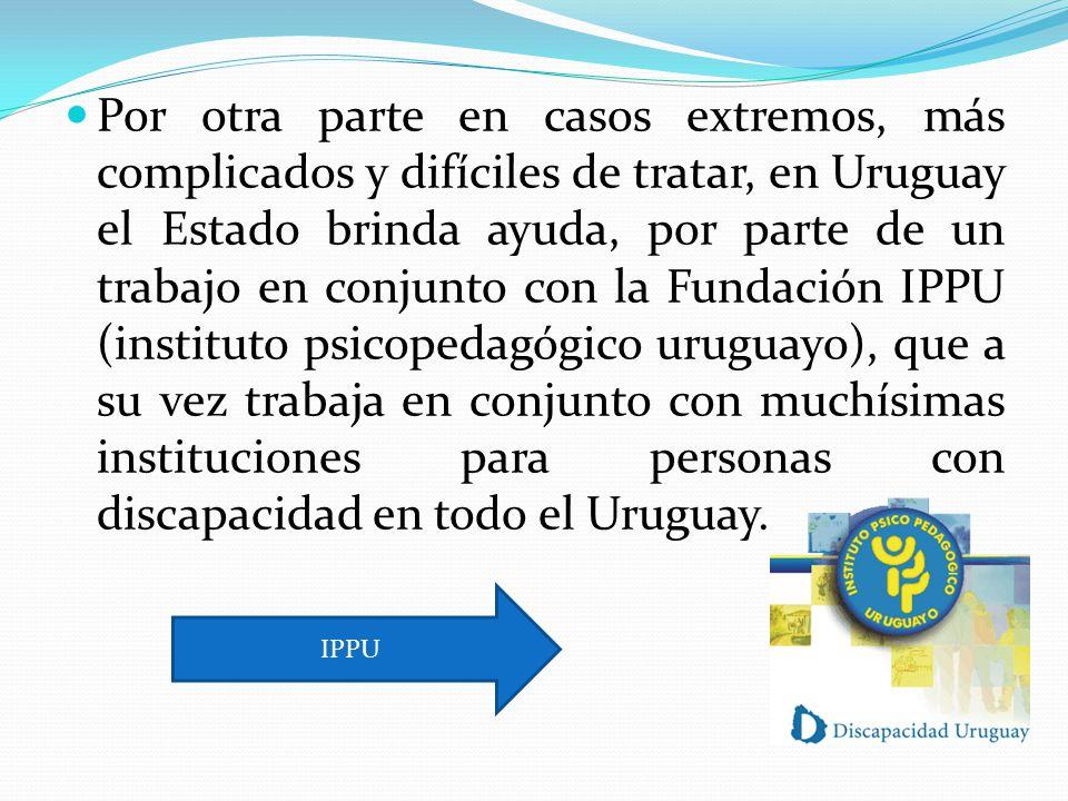 Por otra parte en casos extremos, más complicados y difíciles de tratar, en Uruguay el Estado brinda ayuda, por parte de un trabajo en conjunto con la Fundación IPPU (instituto psicopedagógico uruguayo), que a su vez trabaja en conjunto con muchísimas instituciones para personas con discapacidad en todo el Uruguay.